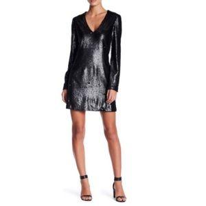 WAYF Black Skyline V-Neck Sequin Dress